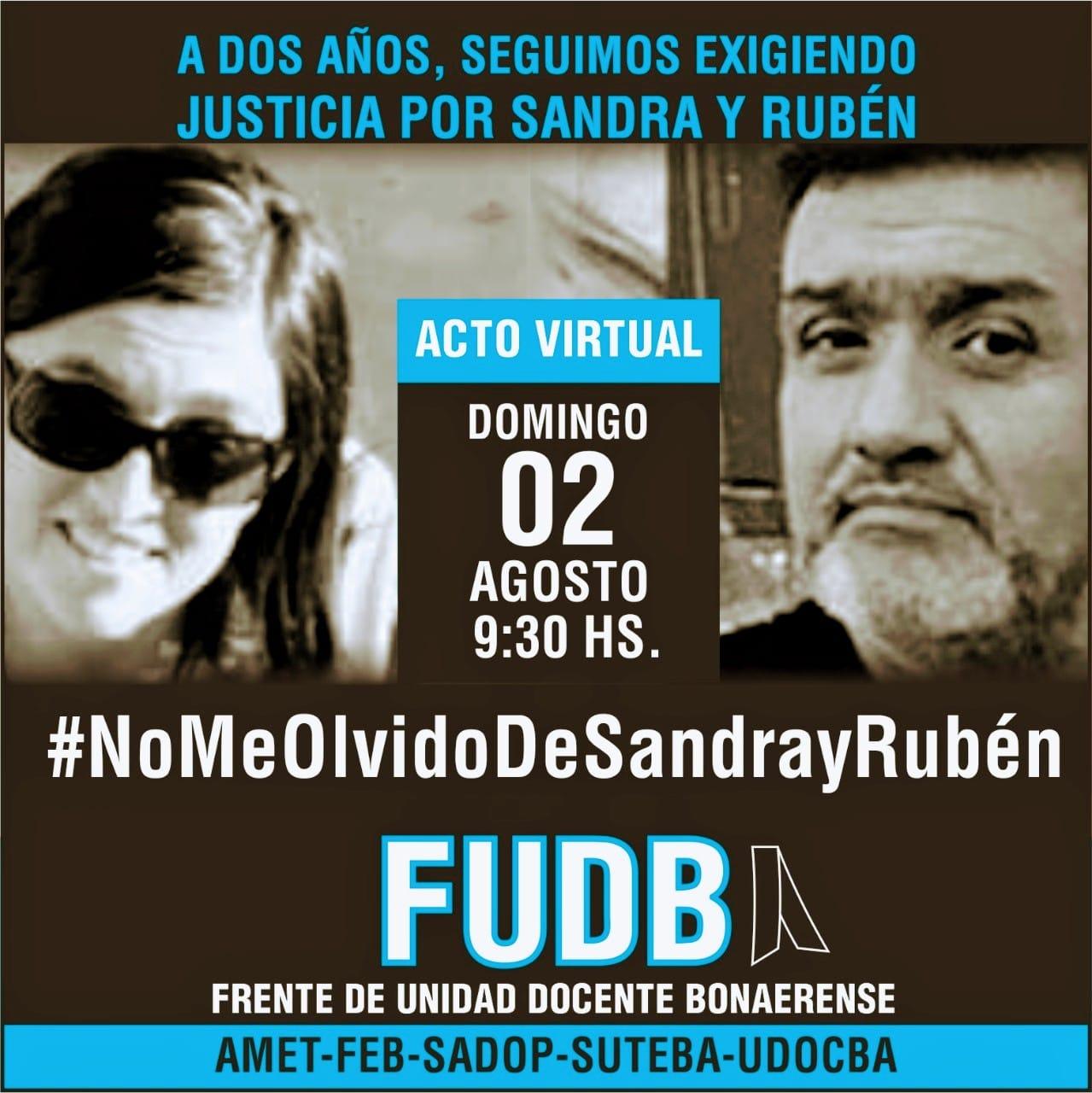 En este momento estás viendo A DOS AÑOS DE LA MUERTE DE SANDRA Y RUBEN SEGUIMOS RECLAMANDO JUSTICIA