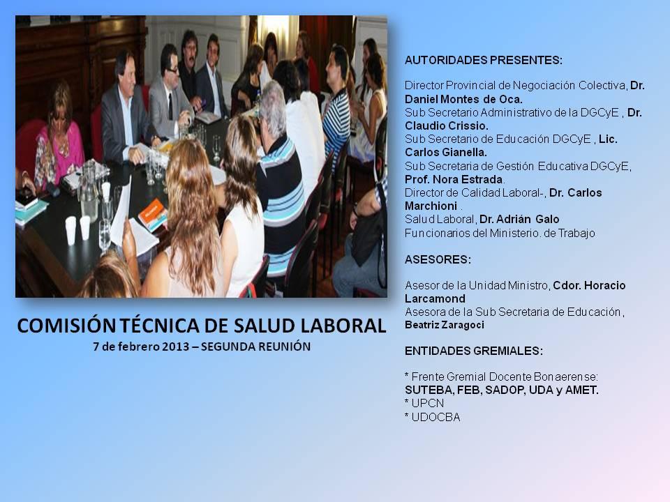 En este momento estás viendo COMISIÓN DE SALUD LABORAL – 7 de febrero 2013