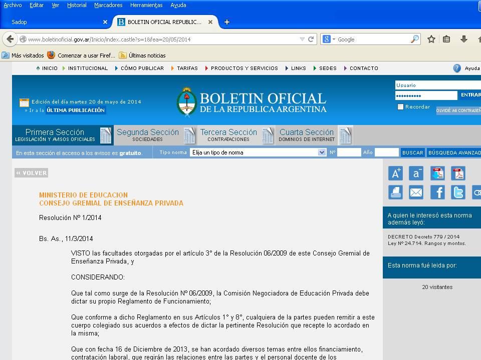 En este momento estás viendo ACTA ACUERDO 2 – BOLETÍN OFICIAL – Resolución 1/2014