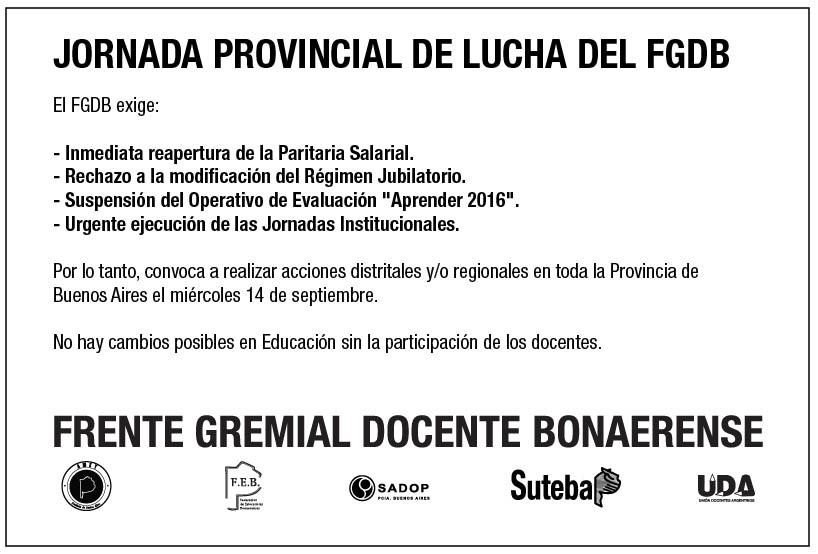 En este momento estás viendo EL SADOP Seccional Pcia. de Bs. As., desde el FGDB realizará JORNADA PROVINCIAL DE LUCHA